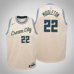 Women Bucks #22 Khris Middleton City Jersey